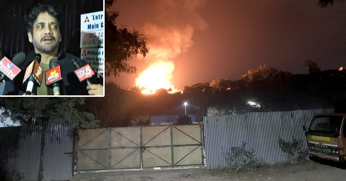 Fire Accident At Annapurna Studios,Mango Bollywood,Annapurna Studios Latest News,Major Fire at Annapurna Studios In Hyderabad,Reason Behind Fire At Annapurna Studios,Akhil Akkineni Tweet About Annapurna Studios Fire,Manam House Set Fire at Annapurna Studios