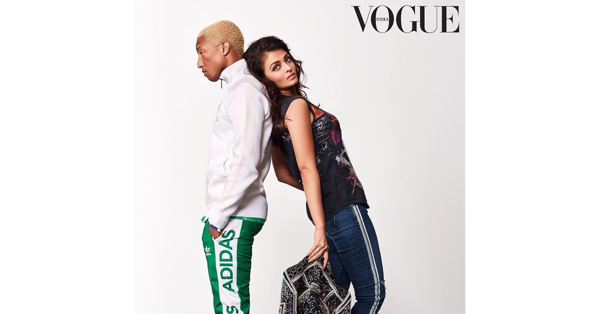 Aishwarya Rai Bachchan And Pharrell Williams Rock The Vogue Shoot,Aishwarya Rai Bachchan for Vogue Shoot,Aishwarya and Williams Vogue photo Shoot, Aishwarya Rai Bachchan latest Vogue Shoot,aishwarya rai bachchan and pharell williams Vogue magazine cover,Aishwarya Rai Bachchan latest updates,Mango Bollywood,Current Bollywood News & Movies